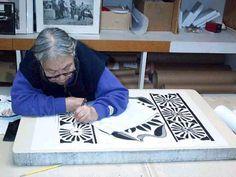 Kenojuak Ashevak creating artwork in 2002