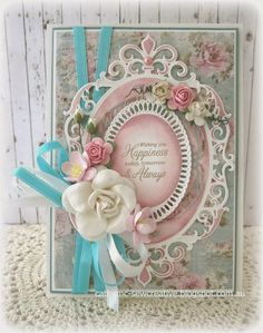 Sew Creative: Wishing You Happiness ~ Maja Design ~ Tutorial Hand Made Greeting Cards, Making Greeting Cards, Greeting Cards Handmade, Shabby Chic Karten, Shabby Chic Cards, Pretty Cards, Cute Cards, Wedding Anniversary Cards, Wedding Cards