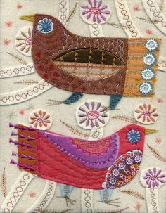 ♒ Enchanting Embroidery ♒ embroidered birds in felt,silk,wool rayon thread by…