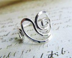 Nautilus Ring, Sterling Silver Ring, Spiral Ring, Handmade Ring, Artisan Ring, Metalwork Ring, Nautical Jewelry, Seashell Ring