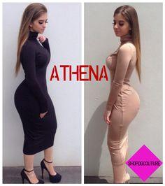 """Athena"" Bodycon Collared Long Sleeve Knee Length Dress"
