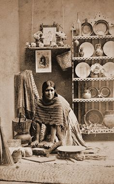 """Mexican woman grinding corn by ookami_dou, via Flickr; from an 1860's album of Mexican occupations made by the studio """"Cruces y Campa"""" in the 1860s."""
