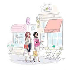 illustration magalie F shopping girls.jpg - Magalie F | Virginie