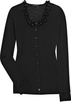Burberry Prorsum Embellished Wool Cardigan in Black