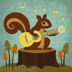 Guitar Playing Squirrel.    146R Retro Squirrel Playing Guitar 6 x 6 Print by leearthaus, $15.00