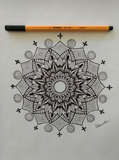 Simple and easy mandala. With stabilo fineliner. Mandala drawing by Debannita.