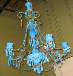 BACCARAT BLUE OPALINE CHANDELIER lamp c. 1890 Baccarat Chandelier, Chandelier Lamp, Chandeliers, Lamps, Fancy N, Turquoise Chandelier, Antique Pottery, Polish Pottery, Opaline