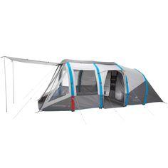6 personnes en camping itinérant familial désirant une grande tente à montage et démontage facile, 3 chambres et un large séjour.