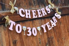 pink and gold 30th birthday banner for her CHEERS TO 30 by RusticDaisyDesigns