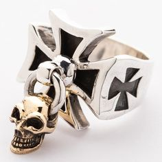 You'll be blown away with our Gold Dangle Skull Iron Cross Ring. Its tricksy design features iron cross-inspired silhouettes and a swaying gold skull Mens Skull Rings, Silver Skull Ring, Gold Skull, Silver Man, Geek Jewelry, Skull Jewelry, Bullet Jewelry, Hippie Jewelry, Gothic Jewelry