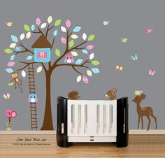 Wall decal nursery wall vinyl pattern decal sticker tree wall decal 119