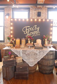 Rustic Wedding Candy Sweet Treat Table with Whiskey Barrel table by Fox & Hound Paperie - Indie Wed 2014 Chicago