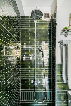 Verde Luana honed floor tile: Bella Tile Co. Ginger shower baskets and bathroom shelf: Simon's Hardware. Decoration Inspiration, Bathroom Inspiration, Decor Ideas, Bathroom Renovations, Home Remodeling, Green Subway Tile, Subway Tiles, Green Bathrooms Designs, Open Showers