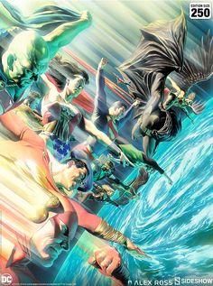 Protectors of the Universe Fine Art Lithograph by Alex Ross | Sideshow Collectibles Alex Ross, Comic Book Artists, Comic Artist, Comic Books Art, Batman Christian Bale, Justice League, Star Trek, Hq Dc, Arte Dc Comics