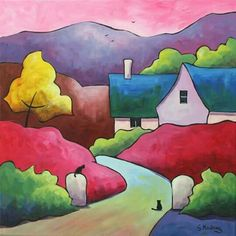 Risultati immagini per sveta esser paintings Landscape Quilts, Landscape Art, Tableau Pop Art, Cottage Art, Art Sculpture, Arte Popular, Naive Art, Art And Illustration, Whimsical Art