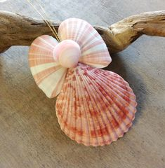 This Seashell Angel is a Natural beauty with her colorfull Shell skirt and Rainbow Tellin Wings. Handmade here at Sea Things in Ventura, CA. This small Angel is all Natural in color. Colors vary: some have yellow skirts, some have orange, and some have a pink or rose color to them. All have a natural yellow halo. She is really very pretty and creative. Every Angel is handmade with the Love of the Sea here in Ventura California at our Magical and Enchanting Mermaid's Lair. A Lovely addition…