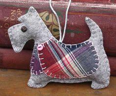 Scottie Dog Christmas Ornament, Flora