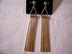 Triangle Pierced Earrings Gold Tone Avon Vintage Swinging Long Prongs