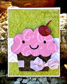 Cute Birthday card from Court's Crafts using the Cricut Cartridge Create-a-Critter.