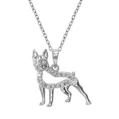 Sterling Silver 1/10-ct. T.W. Diamond Boston Terrier Dog Pendant