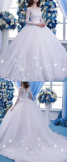 Wonderful Tulle Scoop Neckline Natural Waisltine Ball Gown Wedding Dress With Lace Appliques & Beadings