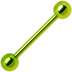 Light Green Electro Titanium Barbell Tongue Ring | Body Candy Body Jewelry #bodycandy