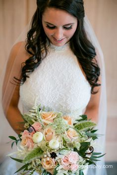 Bridal Portrait l Shabby Chic Floral Bouquet l Vail l Lace Dress l Knot Too Shabby Events l Wrightsville Manor