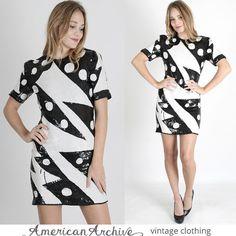 vtg 80s Sequin Beaded Dress Black White Bolt