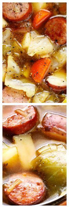 Cabbage, Sausage, and Potato Soup - Eintöpfe & Suppen - Patato Cooker Recipes, Crockpot Recipes, Soup Recipes, Healthy Recipes, Hamburger Recipes, Barbecue Recipes, Lunch Recipes, Stevia Recipes, Bon Appetit