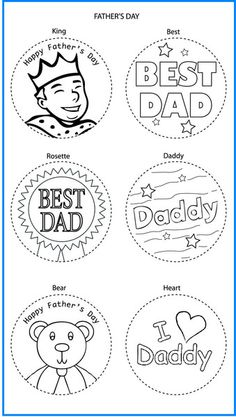 Fathers Day Mixed Designs - Colour In Yourself Badges Holiday Crafts For Kids, Kids Crafts, Badge Template, Daddy Bear, Fathers Day Crafts, Button Badge, Colouring Pages, Best Dad, Rainbows