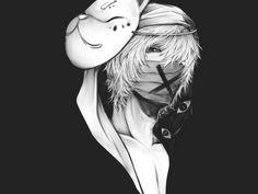 anime boy, kitsune mask, anime, monochrome
