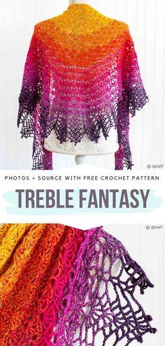 Treble Fantasy Free Crochet Pattern #crochetshawl