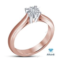 1 CT 14k Rose Gold Plated 925 Silver Round Cut Diamond Solitaire Wedding Ring 5  #Affoin8 #WomensSolitaireEngagementRing