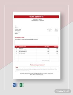 Company Work, Company Names, Date, Letterhead Template Word, Estimate Template, Word Doc, Letter Size, Website Template, Microsoft Excel