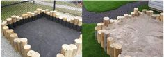 Natural Playgrounds - Wooden log sandbox provides a combination of play value with the naturalized appeal perfect for a more natural playground design.
