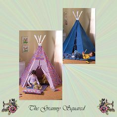 Childrens Tepee and Playmat with Pillows by TheGrannySquared