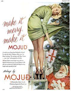 Mojud Stockings Christmas Advertisement, 1940s.