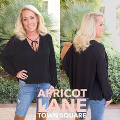 """Need to update your go to black shirt? This one is perfect for the season. $44 LUSH, one of our favorite bands. #shopalb #apricotlane #lush model is 5'3"""" and wearing a small."""