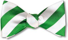 bow ties american made green white stripes