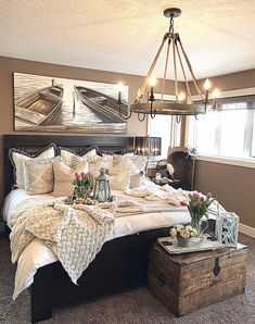 80 Handy Master Bedroom Decor Ideas For Making Your Living Space Fashionably Glam Master Bedroom, Bedroom With Bath, Stylish Bedroom, Modern Bedroom, Bedroom Décor, Bed Room, Fall Bedroom, Bedroom Storage, Master Suite