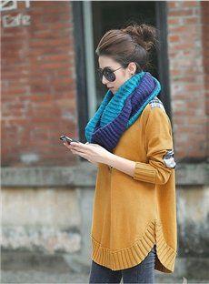 Soft Knit Woolen Yarn Color Block Fancy Korean Shawl Scarf Neckerchief