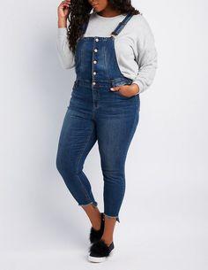 b08e870303a Charlotte Russe Plus Size Dollhouse Button-Up Denim Overalls Denim Overalls