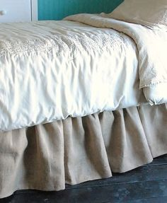 Burlap Bed Skirt, Twin and Full by Paula and Erika - traditional - bedskirts - Etsy