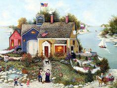 Joyful Villages - American Folk Art by  Linda Nelson Stocks  - Summer Cottage,  Village House,  Americana Nostalgic Art Pictures 1600*1200   10