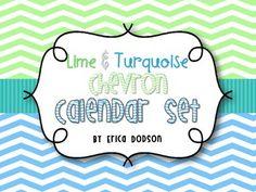 Lime & Turquoise Chevron Classroom Calendar Set