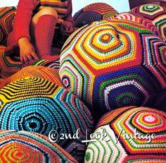 Vintage Crochet Pattern Riesen Kissen Ball Pouf von 2ndlookvintage