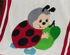 CROCHET Pattern - Baby Blanket Pattern - Ladybird's Apple - Crochet Baby Afghan - PDF Crochet Chart -  Ladybug Crochet Afghan Graph