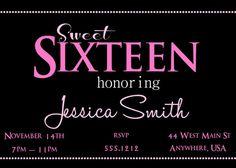 Sweet 16 Birthday Invitation Sweet Sixteen by Createphotocards4u, $15.00