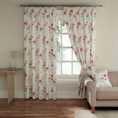 Pink'Cherry Blossom' fully lined curtains with pencil heading at debenhams.com