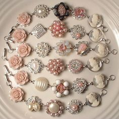 Custom Vintage Blush Pink, Ivory & Hint of Gray Pearl and Rhinestone Bridesmaids Bracelets, Heirloom Cluster Earring Bracelets Set of 6